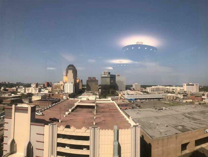 The Reflections Of Ceiling Lights Appear To Be Alien Ships Descending On Shreveport