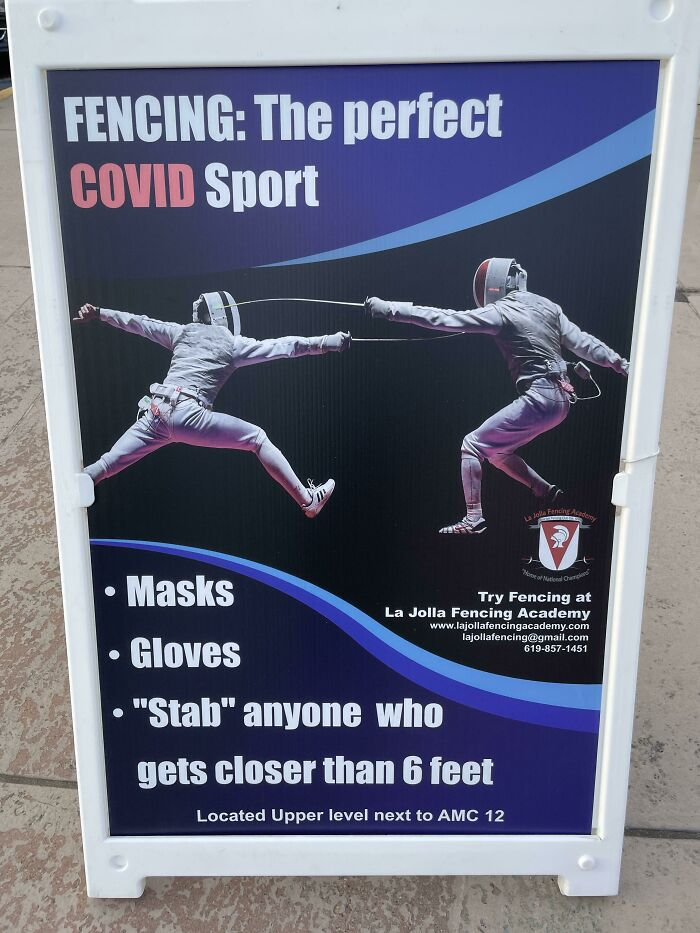 Sign Posted Outside A Fencing Academy