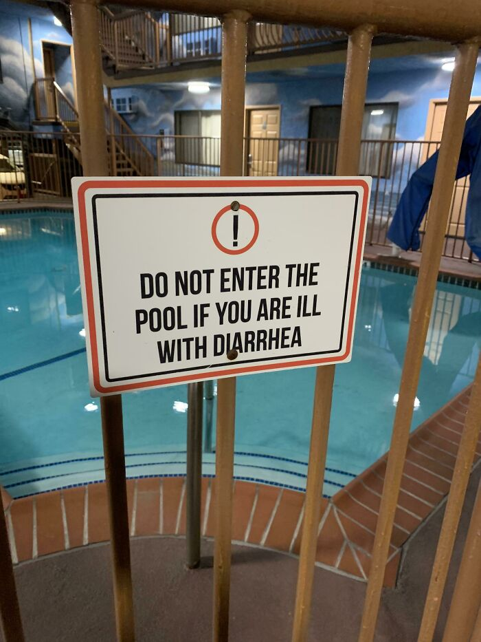 I've Never Seen A Hotel Pool Sign So Blunt Before