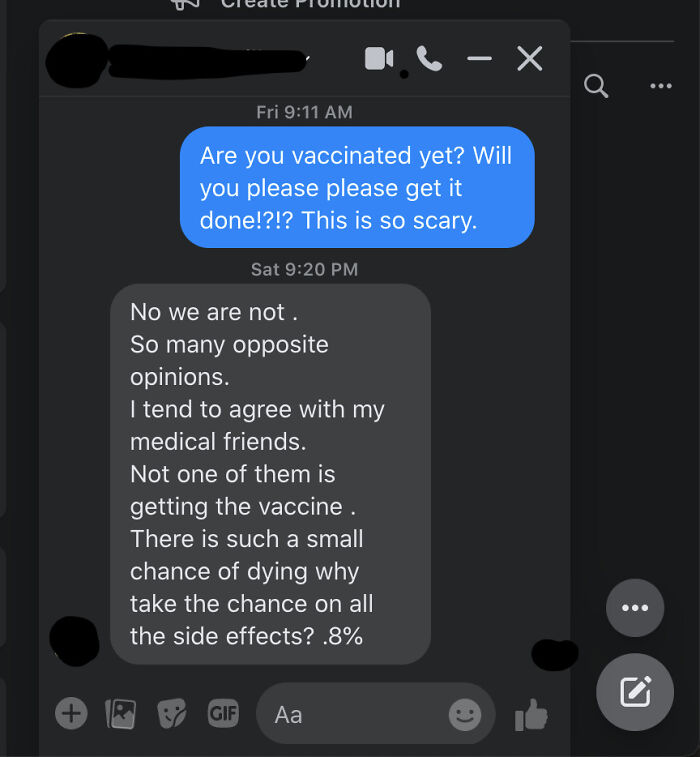 Parent's Response To My Encouragement For Getting Covid19 Vaccine