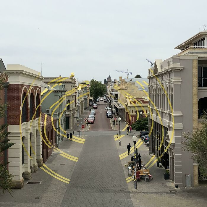 This Street Has An Optical Illusion Painted On A Bunch Of Buildings. Fremantle, Australia