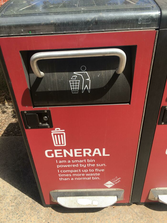Smart Bins In Australia Use Solar Power To Compact Waste. Includes Foot Handle