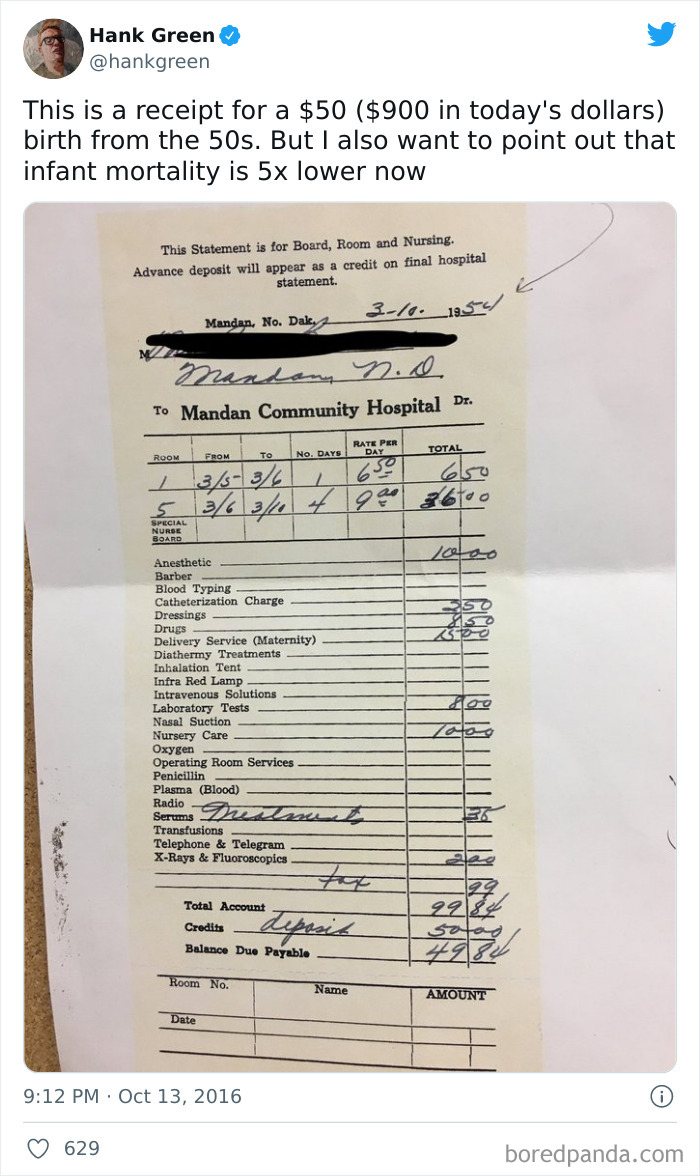 Medical Bill From The 50s