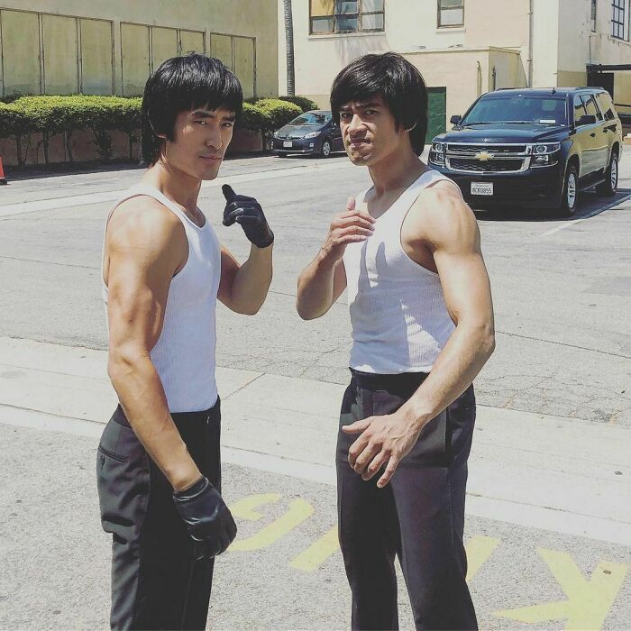 Mike Moh Portraying Bruce Lee And His Stunt Double Bryan Cartago