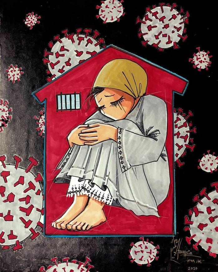 "Done, ""Stay Safe "" #atmystudio #corona #covid_19 #quarantine #sadness #disapointment #ويروس #كرونا #نوروز #copicmarkers #paper"