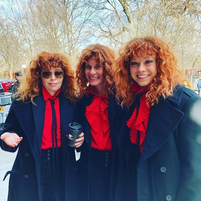 Natasha Lyonne With Her Stunt Doubles On The Set Of Russian Doll