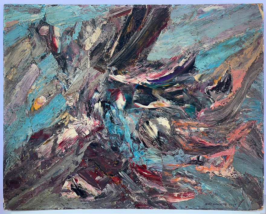 Burt Shonberg Title Unknown Circa 1958 - 1960 Casein On Panel 20 X 16 Inches. While This Painting Is Dated 3 - 4 - 59 And Predates His Participation In The Lsd Experiments With Dr. Oscar Janiger, It Bears A Striking Affinity To Works Known To Have Been Produced At The Time