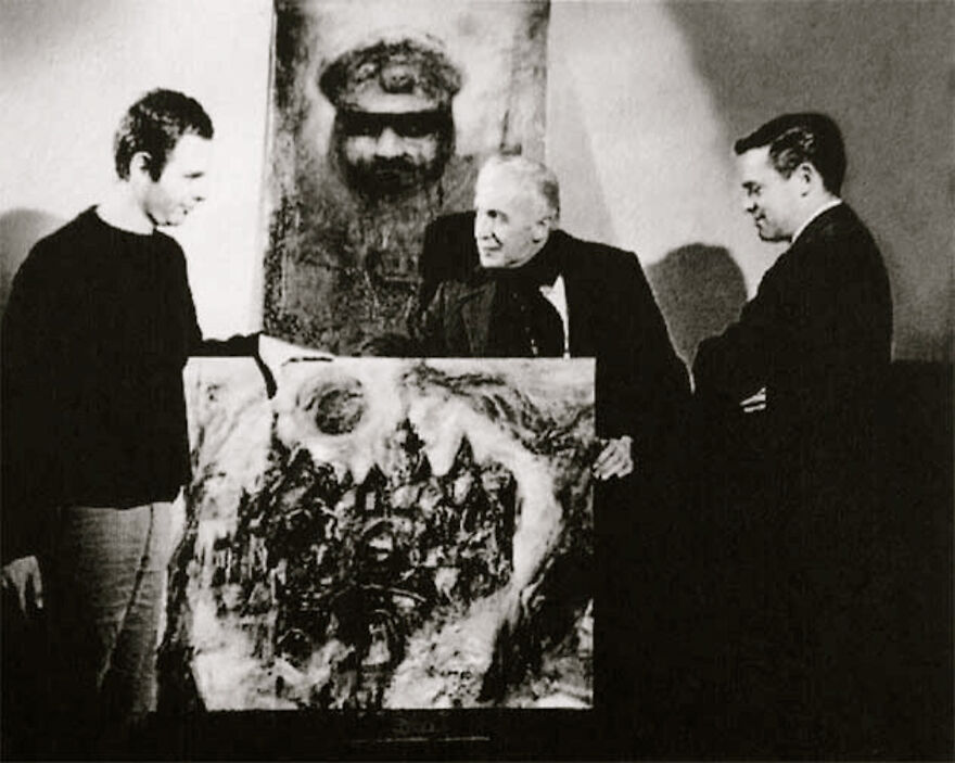 """Burt Shonberg, Vincent Price And Roger Corman On The Set Of """"The Fall Of The House Of Usher"""" 1960"""