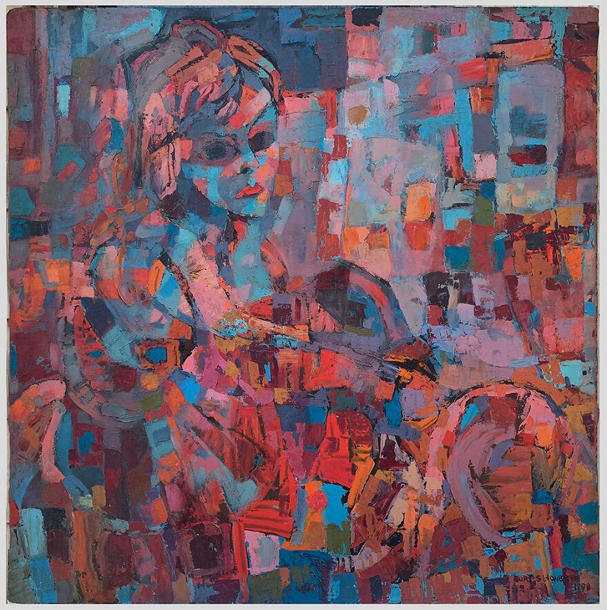 "Burt Shonberg ""Edith"" 1958 Casein On Panel 48 X 48 Inches"