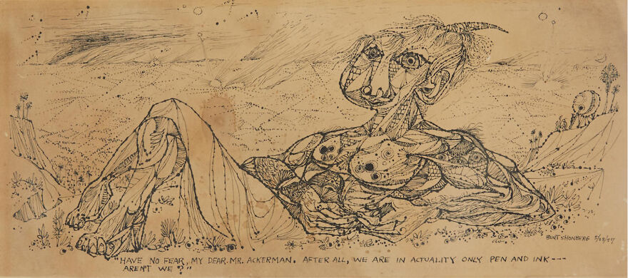 """Burt Shonberg """"Have No Fear, My Dear Mr. Ackerman. After All, We Are In Actuality Only Pen And Ink---Aren't We?"""" 1957 Ink On Paper 8.75 X 18.75 In"""