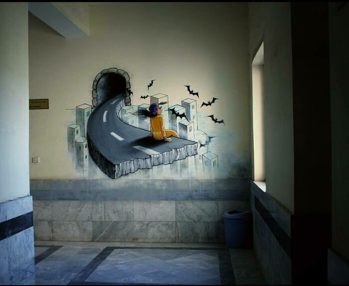 My 3D Painting At Faculty Of Fine Arts, Kabul University That Was Removed By Faculty Of Arts Last Year. I Really Miss It :(