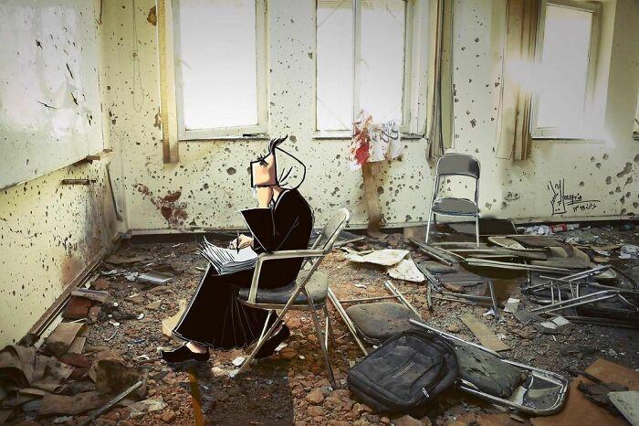 Once Upon A Time... يكي بود يكي نبود ... #classroom #kabuluniversityattack #جان_پدر_کجاستی #war #warzone #the3rdworld #studying #fear #heartbreaking #hope #lookingfor #peace #artistsoninstagram #afghanartist #digitalpainting #photo © @nilofarniekpor