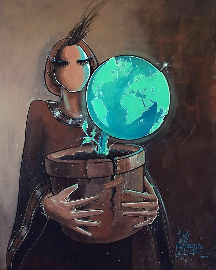 Earth/ زمين spray & Acrylic On Canvas: 100x75 Cm repost. #earth #globe #responsibility #breathing #living #hope #artwork #painting #acrylic #spray #canvas #art #afghanartist #2021 #2020 #artistsoninstagram #blue #green #brown #هنر #نقاشي #هنرمند