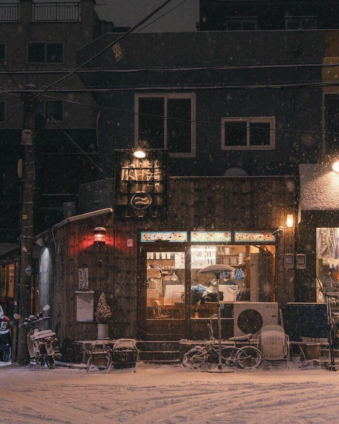 Small Restaurant In The Snow, Seoul, South Korea