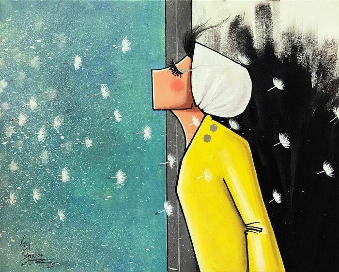 Double Standard / يك بام و دو هوا series : I Wish/ اي كاش #window #border #darkness #peace #wish #hope #waiting #change #feeling #dandelion #breathing #imagination #artwork #artist #artistsoninstagram #afghanartist #spraypaintart #acrylicpainting #canvaspainting #colors #yellow #blue #white #black #هنر #نقاشي #هنرمند