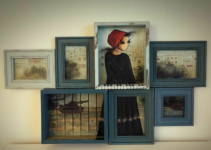 Series: Damn The War/ لعنت به جنگ the 3rd World And Hope/ جهان سوم و اميد repost. #hope #peace #war #warzone #piano #life #tank #explosion #smoky #frames #artwork #artist #artistsoninstagram #afghanartist #painting #acrylicpainting #spraypaintart #afghanistan #homeland #afghan #woman #people #lookingforpeace #هنر #نقاشي #هنرمند #جنگ #جهان_سوم