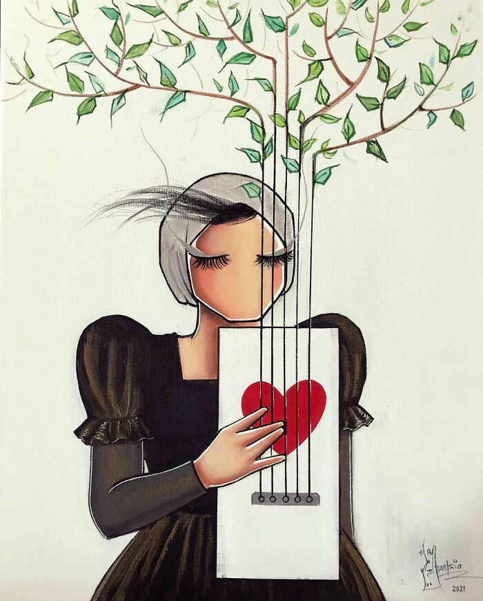 Happy International Women's Day / روز جهاني زن مبارك series: The Melody Of Heart #women #womensday #heart #melody #guitar #words #feeling #tree #green #nature #painting #artwork #art #artistsoninstagram #artist #afghanartist #afghanwomen #acrylicpainting #canvas #music #2021 #artstudio #colors #red #هنر #هنرمند #نقاشي #زن #زندگي