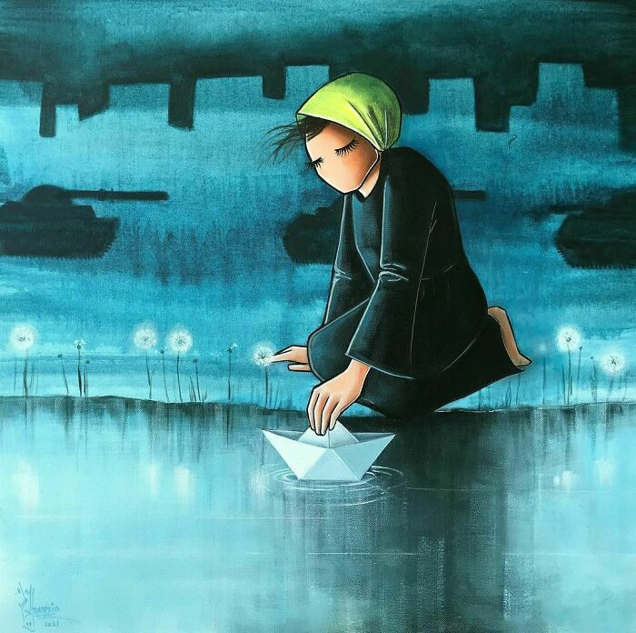 And Done, untitled/ بدون عنوان i Couldn't Pick A Title For This Piece, I Actually Couldn't Find The Word To Express My Feeling And Idea. #hope #war #peace #warzone #rescue #life #dream #blue #black #yellow #scarf #woman #fear #stress #paper #boat #river #foggy #painting #artwork #art #artstudio #artist #acrylicpainting #artistsoninstagram #afghanartist #afghanistan #2021 #هنر #هنرمند