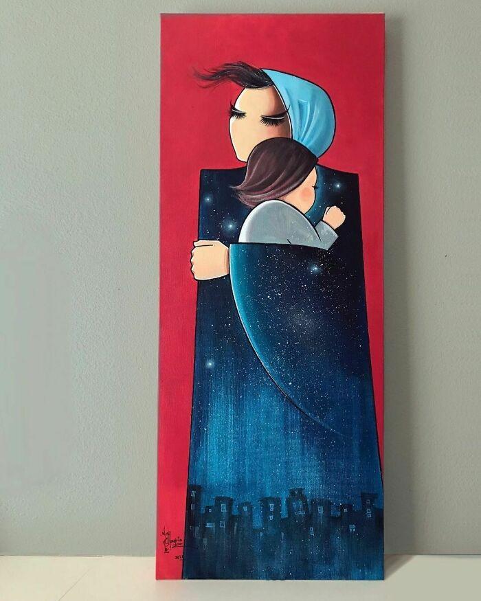 Happy International Mother's Day/ روز مادر مبارك ♥️ spray & Acrylic On Canvas 100x40 Cm #mother #mothersday #2021 #mom #love #motherslove #calmness #patience #artwork #painting #art #arte #pintura #artist #artstudio #afghanartist #artistsoninstagram #artofinstagram #artoftheday #colors #blue #sky #stars #night #red #acrylicpainting #canvas #هنر #هنرمند #مادر