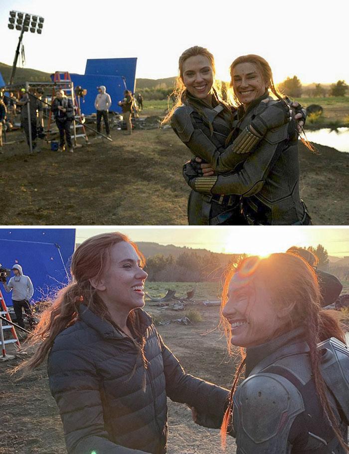 Scarlett Johansson y su doble de riesgo, Heidi Moneymaker, durante su último día en el set, después de trabajar juntas desde Iron Man 2