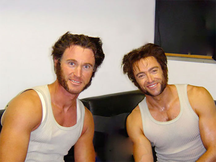 Hugh Jackman With His Stun Double On The Set Of X-Men: The Last Stand