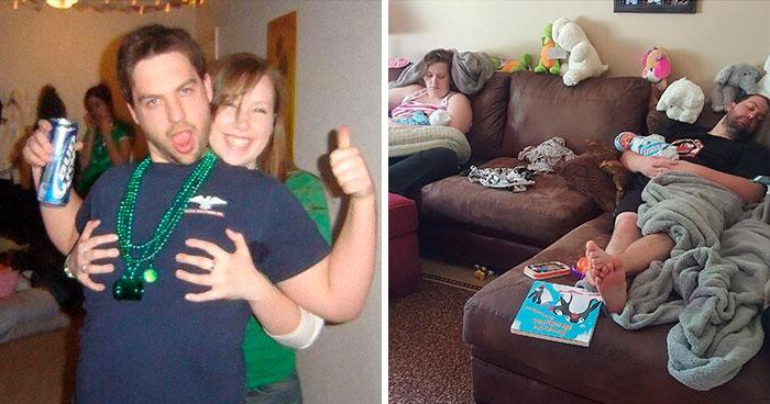 Estos padres comparten fotos suyas antes y después de tener hijos, y la diferencia es tan divertida como triste (30 nuevas fotos)