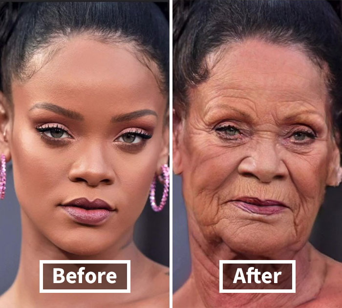 27 Pictures Showing How Famous People Will Look In 40 Years If They Age Like Ordinary People, According To This Guy On TikTok