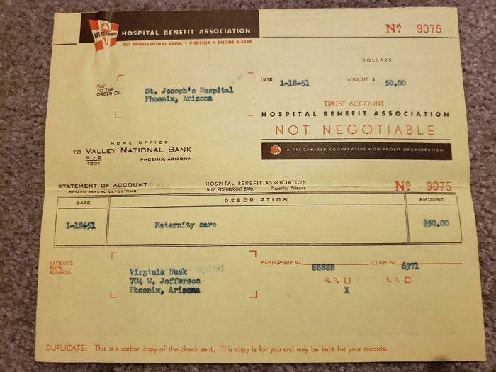 My Grandma's 1951 Hospital Bill For Maternity Services. Grand Total For One Live Infant Birth - $50