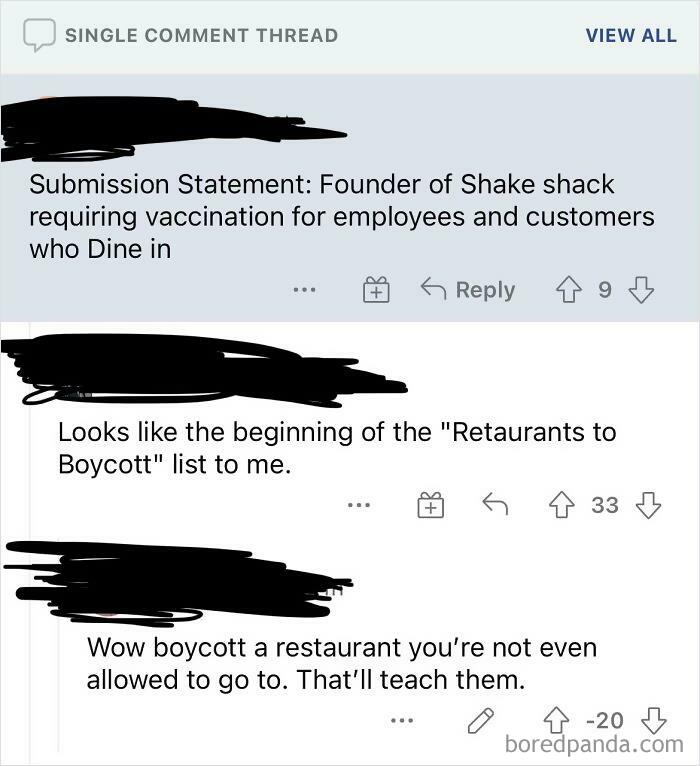 Anti-Vaxxers Wanting To Boycott Restaurants They Are Banned From