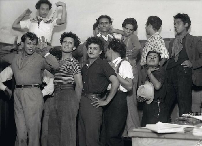 Gay Men Pose For A Photo While Being Detained At A Police Station For Being Homosexuals In Mexico, 1935