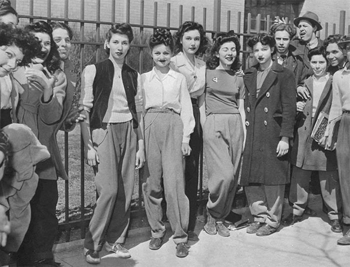 Protesting The High School Dress Code That Banned Slacks For Girls, Brooklyn C.1940