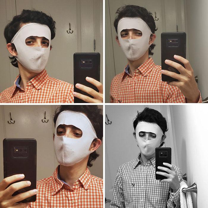 """Mi abuela compró máscaras a toda mi familia: no sólo te hacen parecer Hannibal Lecter en ropa interior, sino que también tienen agujeros perforados para que sea """"más fácil respirar"""""""