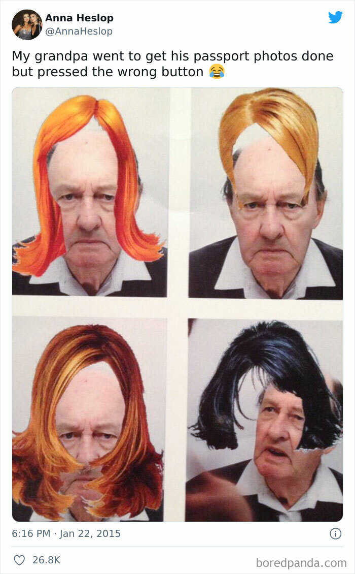 Grandpa Went To Get His Passport Photos Done But Pressed The Wrong Button