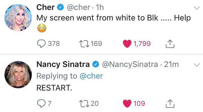 Cher Accidentally Turning On Night Mode And Nancy Sinatra Telling Her To Restart. Amazing