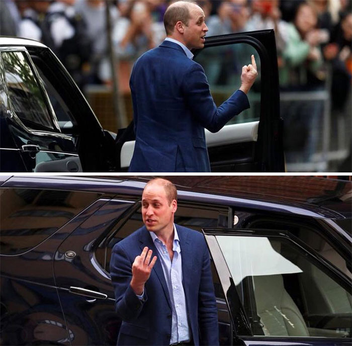 """Prince William Giving """"Middle Finger"""" After Prince Louis' Birth"""