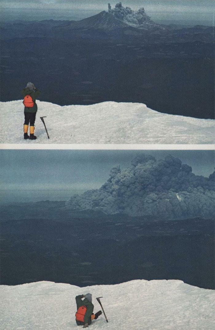 Photo Of A Hiker Watching The Eruption Of Mt. St. Helens From Mt. Adams, About 37 Miles To The East.