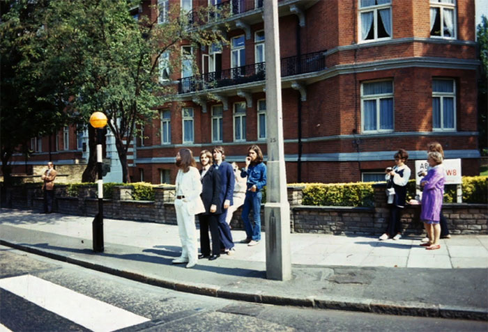 The Beatles Lining Up For The Abbey Road Album Cover Photo