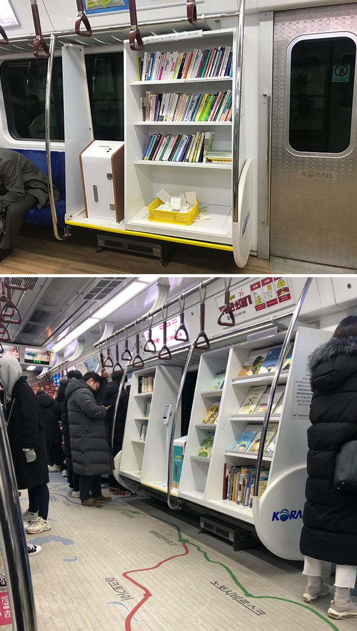 This Subway Car In Seoul Has A Mini Library