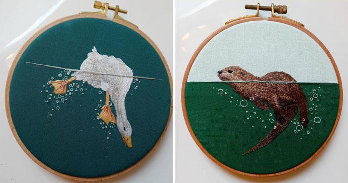 30 Preciosos bordados de animales acuáticos disfrutando del agua, por la artista Megan Zaniewski
