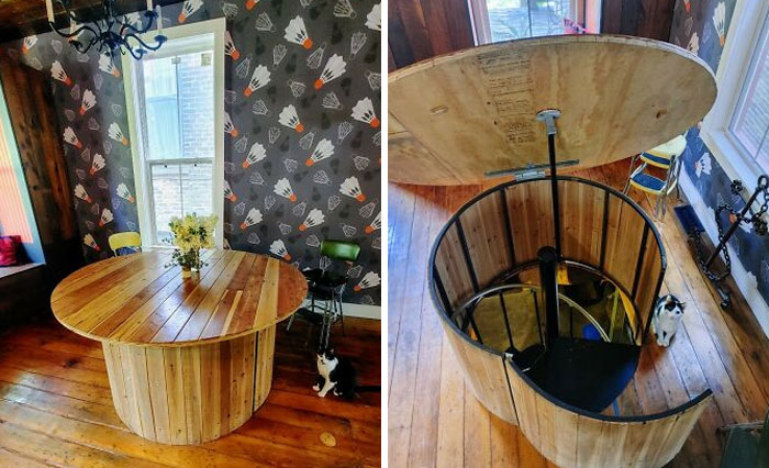 My Dining Room Table Houses A Secret Spiral Staircase