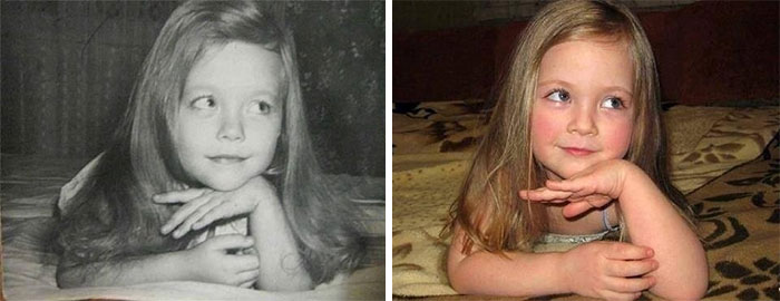 On The Left Was Mother In 1980. Now In 2014, Her Daughter.