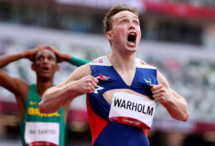 El atleta noruego Karsten Warholm batió su propio récord mundial de 400 metros vallas