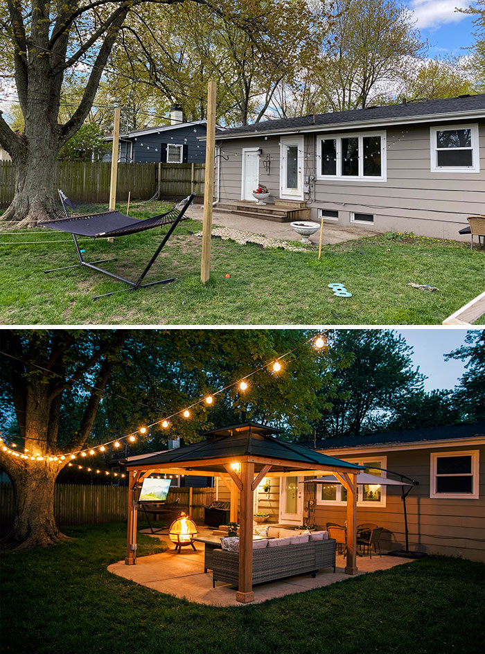 Before & After Of Our Backyard Quarantine Project. I Will Be Purposely Social Distancing Here Throughout The Summer
