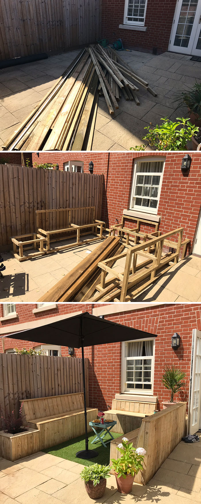 That's Right! It's Another Lockdown Patio Project! I Built A Set Of Benches For Our Small Courtyard Patio