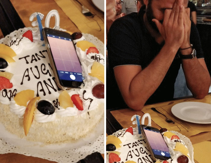 At My 30th Birthday, One Of My Friends Dropped His Phone On The Cake. One Of My Best Memory And One Of His Worst