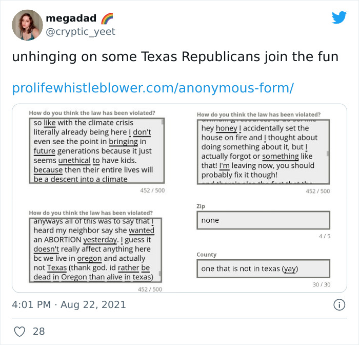 People Are Fighting Texas' Abortion Laws By Spamming The Anti-Abortion Tip Line Website In Masterful Ways