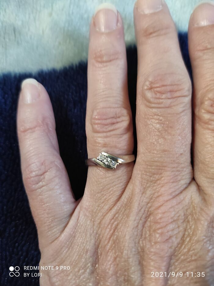 My Dad Died When I Was 16. A Few Months After He Passed My Mom Has His Wedding Ring Melted Down (Diamonds Removed First) And Made Into A New Ring For Me. I've Worn It Every Day Since (30 Years This Coming December)