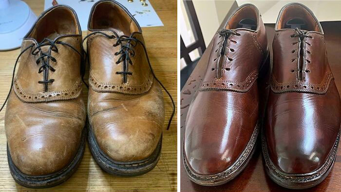 Here's The Before And After Finished Product On My $5 Allen Edmond's. These Bifl Shoes Were Destined For The Dumpster But I Was Able To Bring Them Back To Life. The Dye Color Is Uneven Between The Left And Right, But I'm Just Gonna Let It Bug Me For A While Until I Get Around To Fixing It