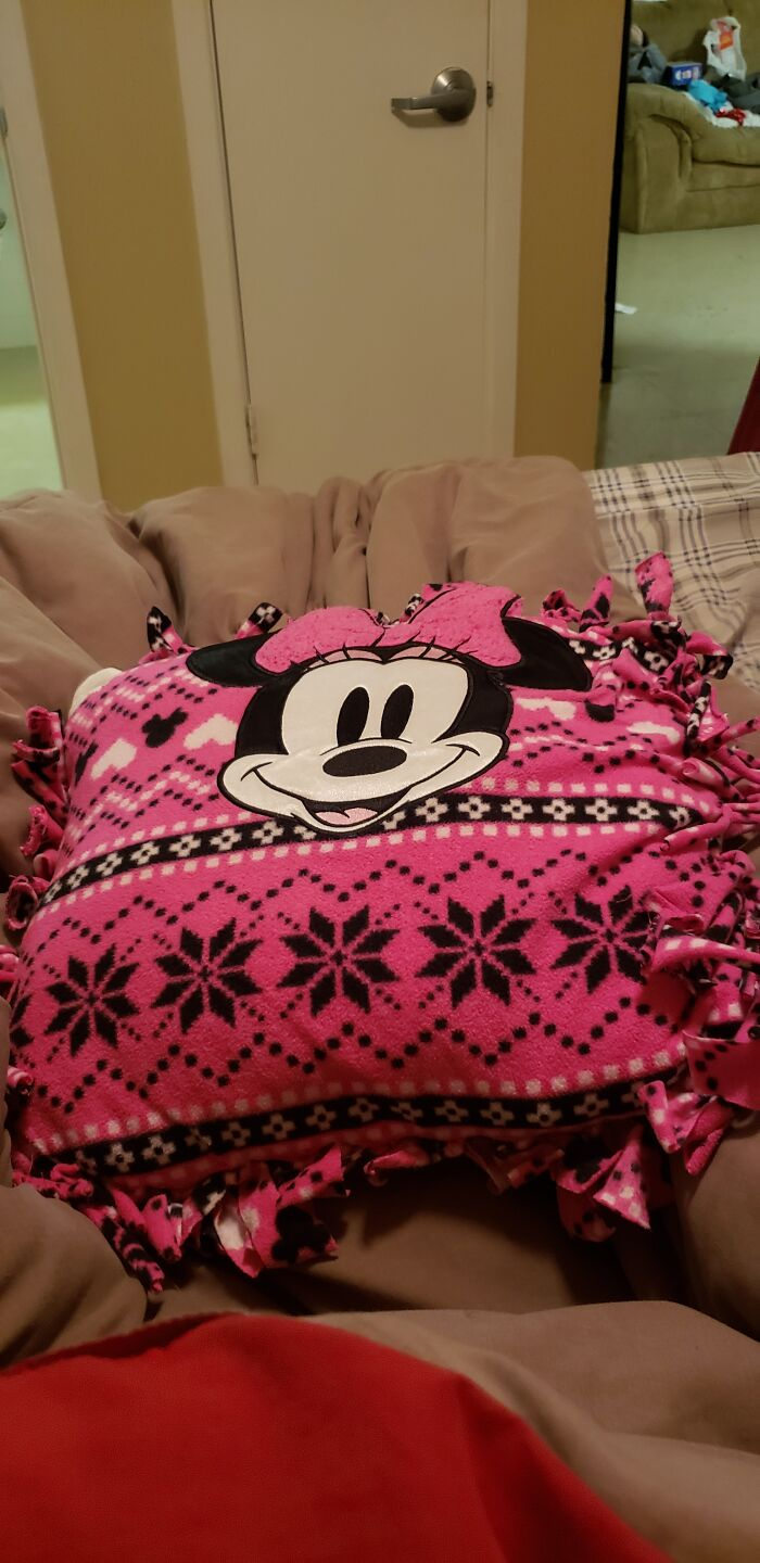 This Is Pillow That My Mom Made For Me Out Of An Minnie Mouse Nightgown.