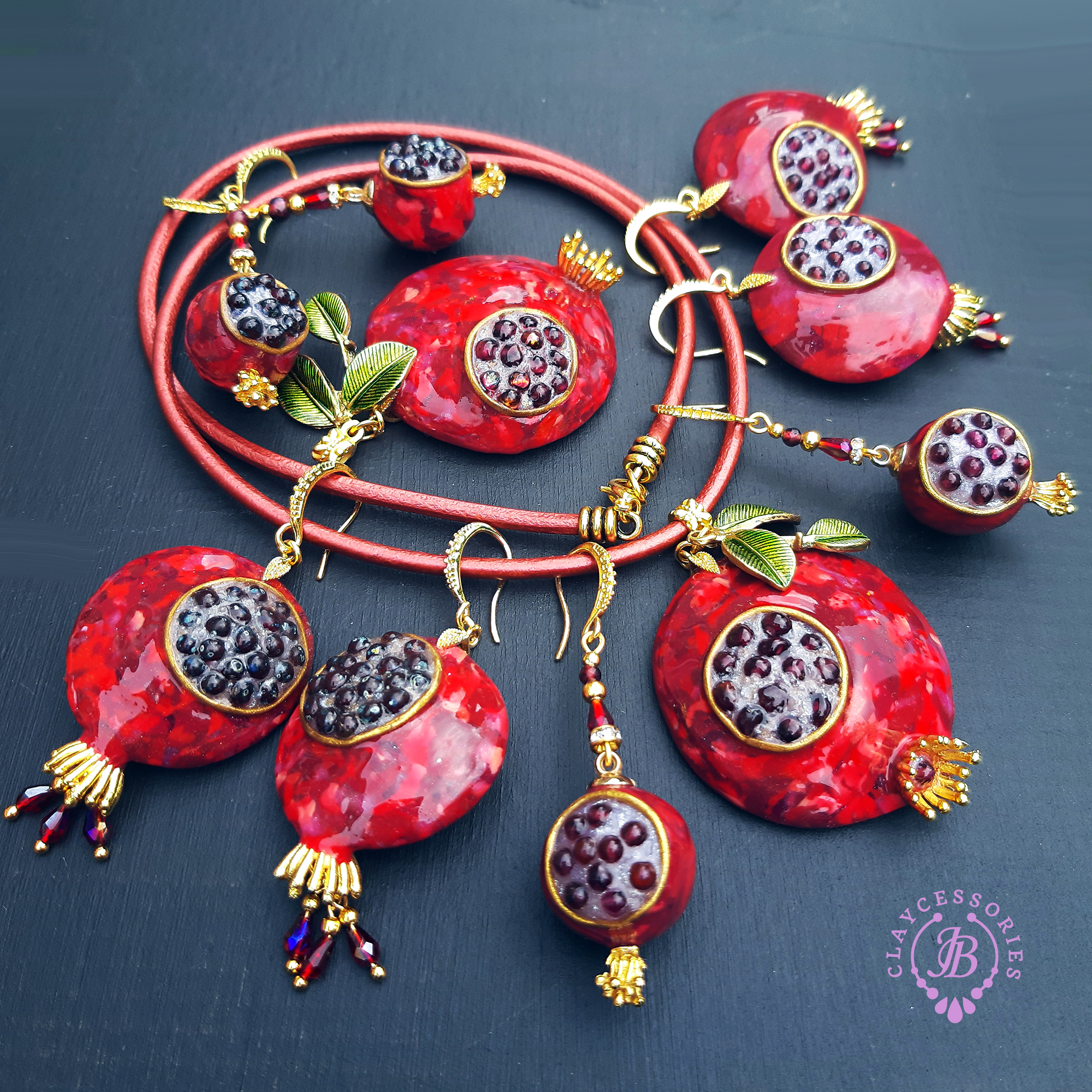 The Unusual Design Of Pomegranate Jewelry I Made Out Of Polymer Clay.